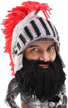d52c2dd3ba7 Beard Head Knight Beard Beanie - Funny Knitted Helmet w Fake Beard and  Visor Best