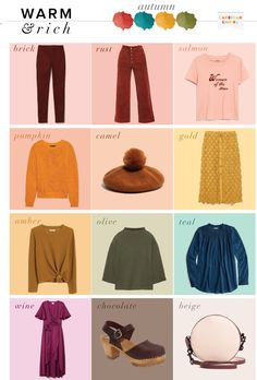 What to wear – autumn capsule wardrobe, seasonal color analysis deep autumn color palette, Capsule Outfits, Fall Capsule Wardrobe, Day Date Outfits, Cute Outfits, Travel Outfits, Work Wardrobe, Night Outfits, Colourful Outfits, Colorful Fashion