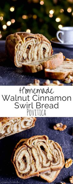 This Homemade Povitica Recipe is a delicious treat perfect to give as a gift! It's a rich cinnamon swirl bread with a cinnamon walnut filling! Recipes With Yeast, Healthy Bread Recipes, Muffin Recipes, Pastry Recipes, Healthy Baking, Yummy Recipes, Baking Recipes, Recipies, Delicious Desserts
