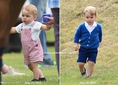What a difference one year makes! Prince George at polo matches on June 15, 2014 & June 14, 2015.