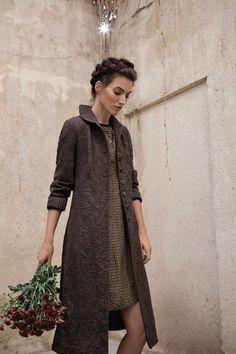 brown wool coat over printed silk dress