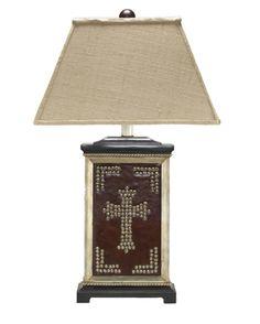 Silver+Cross+Table+Lamp+-+Western+Decor+-+Cabin+Decor