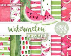 Papel Digital Fondos Sandia Rosa fiuscha verde limon negro clip art fiesta verano piscina Chevron Polka Dots invitaciones Scrapbooking