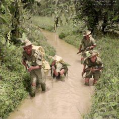 """Men of the 2/9th Gurkha Rifles training in the Malayan jungle, October 1941, WWII.  The former Indian Army Chief of Staff Field Marshal Sam Manekshaw, once stated that """"If a man says he is not afraid of dying, he is either lying or is a Gurkha.""""The Gurkhas Nepali : गोर्खा, also spelled as Gorkhas, are soldiers from Nepal."""