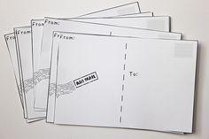 Smashed Peas and Carrots: Make Your Own Postcards {Free Printable} (on fun list) Printable Postcards, Free Postcards, Fabric Postcards, Postcard Template, Templates Printable Free, Free Printables, Printable Cards, Make Your Own Postcard, Free Graphics