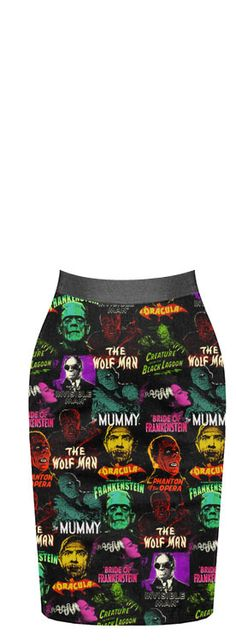Universal Monsters Pencil Skirt http://rockrebelshop.com