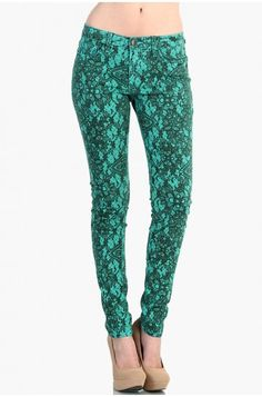 OMG Lace Print Denim Pants - Mint