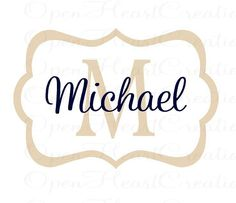 Personalized Baby Name Wall Decal - Modern Rectangle Frame with Initial and Name Monogram Vinyl Lettering 22H x 32W FN0238. $45.00, via Etsy.