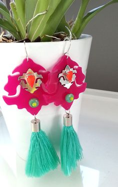 Long  big statement perspex earrings in fuschsia color von Fluoduo, $49.00