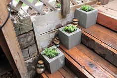 Concrete block as planters.  I would paint them different colors/designs, or even house numbers.  So simple and inexpensive. Outdoor Furniture Sets, Outdoor Decor, Plants, Garden, Home Decor, Homemade Home Decor, Gardens, Plant, Interior Design