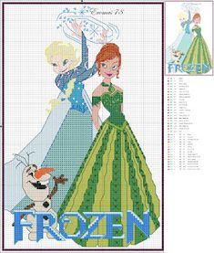Frozen Elsa, Anna, and Olaf graph for cross stitch or crochet Disney Cross Stitch Patterns, Counted Cross Stitch Patterns, Cross Stitch Charts, Cross Stitch Designs, Cross Stitch Embroidery, Embroidery Patterns, Frozen Cross Stitch, Cross Stitch For Kids, Disney Stitch