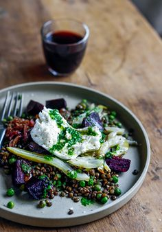 Warm Lentil, beetroot & fennel salad with peas, caramelised onion, buffalo mozzarella & herb oil