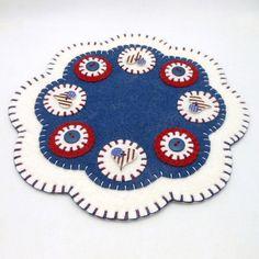 Patriotic Design Penny Rug