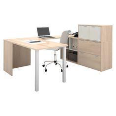 U-shaped desk with file cabinet