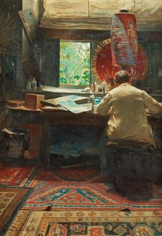 apoetreflects: Painting: Henrik Nordenberg, The Artist's Studio, 1891 Oil on canvas, 56 x cm] Illustrations, Illustration Art, Paintings I Love, Art Studios, Artist At Work, Painting & Drawing, Art Gallery, Fine Art, Drawings