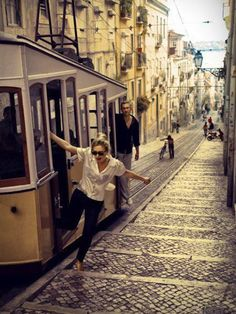 Lisbon, Portugal, I've been right where that girl is about to step out to. Oh The Places You'll Go, Places To Visit, I Want To Travel, Adventure Is Out There, Adventure Time, Travel Inspiration, Beautiful Places, Around The Worlds, City