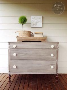Layered Driftwood Milk Paint Dresser by Ferpie and Fray in Old . Grey Painted Furniture, Large Furniture, Paint Furniture, Furniture Makeover, Refinished Furniture, Furniture Refinishing, Driftwood Furniture, Dresser As Nightstand, Gray Dresser