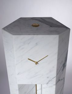 Lee Broom designs marble grandfather clock influenced by brutalist architecture