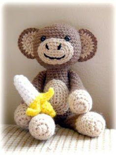 My favorite monkey pattern 🙂 Ravelry: Amigurumi Monkey with Banana pattern by … Mein Lieblings-Affenmuster :] Ravelry: Amigurumi Monkey mit Bananenmuster von Jaylees Toy Box Crochet Monkey, Cute Crochet, Crochet For Kids, Crochet Crafts, Yarn Crafts, Knit Crochet, Crotchet, Crochet Amigurumi, Amigurumi Patterns
