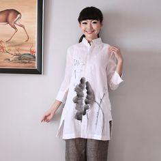 Loto verniciato bianco camicie orientali. 3/4 Sleeve / mandarino collare / mano camicie dipinte / cinese / cinese pittura abbigliamento / orientali