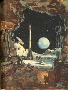 Journey Into Cosmos, written by M. Vasilijev, illustrated by A.S.Sysoyev, N.V. Shchelznyaka and N.M. Kolchitskogo, 1958