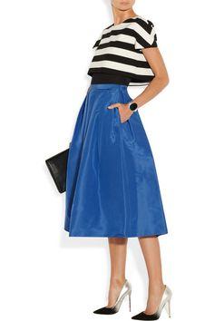 <3 <3 <3 Tibi - reminds me of atlantic pacific liking the high-waisted flared skirt. midi skirts, tibisilkfaill midi, full skirts, fashion, style, blue inspir, cobalt blue, outfit, blues
