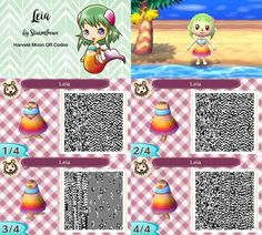 Harvest moon leias dress for Animal crossing new leaf leia outfit mermaid ombre girl beach summer qr code design by sturmloewe