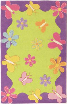 springtime butterfly & flower rug.  100% wool available in multiple sizes from westoncarpet.com