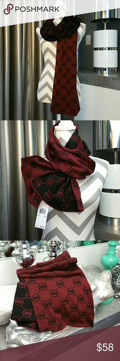 Authentic Michael Kors logo scarf NWT Brand new with tags 100% authentic   Michael Kors chic and classy monogrammed scarf! Perfect for the season!! Beautiful burgundy color with black. Make this beauty a gift for yourself or someone you care about!!  Check out my closet for more MK accessories  Shop with confidence Suggested User Same day shipping 5 star rated closet Top seller  More... Beanies, hats, hat, beanie, scarf, scarves, gloves,MK Michael Kors Accessories Scarves & Wraps