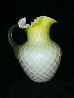 Beautiful 1880's satin yellowThomas Webb museum quality art glass vase
