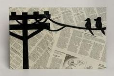 So cute to use black paint on newspaper to make anything! So cute!
