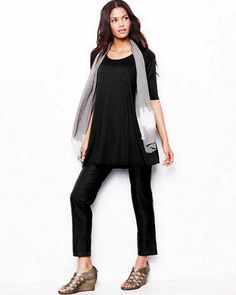 Eileen Fisher Viscose Jersey Scoop-Neck Tunic & Crepe Slim Ankle Pants.