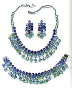 green parure   Glitzy Unsigned Blue & Green Rhinestone Beaded Parure