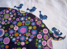 detail of lovely vintage tea towel