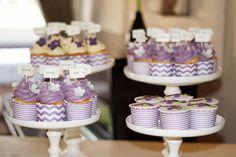 Cupcakes Chevron and stripes purple white