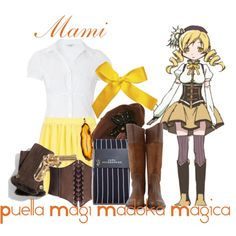 """Mami Tomoe, from Puella Magi Madoka Magica-- REVISITED"" by blackrabbitmegapig on Polyvore"