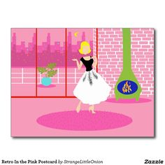 Retro In the Pink Postcard