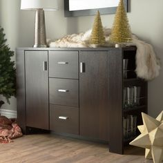 Update your decor with this sleek dining buffet. Featuring four shelves, three drawers, and two cabinets, this stylish buffet in a warm cappuccino finish is a classy, modern piece that will help you quickly makeover your dining room.
