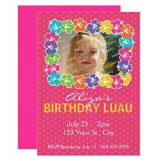 Hawaiian Luau Birthday Party Card