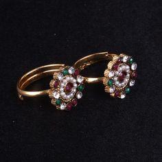 Toe Ring with multi colour stone - WJ0044 Bridal Jewellery   Toe Ring