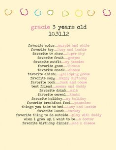 Memory making: 20 questions for your toddler.  I did something similar to this when my kids were small.