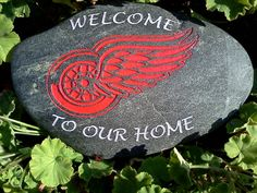Items similar to Engraved Welcome Stone with Red Wings Logo on Etsy Red Wing Logo, Wings Logo, Detroit Red Wings, Logo Inspiration, Welcome, Stone, 4 Life, Logos, Tigers