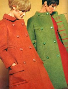 Coats, 1968 60s jacket winter outer wear women ladies fashion style mod orange green double breasted models magazine photo color print ad
