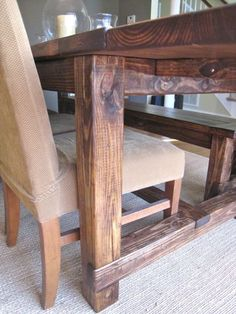 """DIY Farmhouse Table..a huge undertaking, but I would love to have it when we're an old married couple saying """" remember when.."""""""