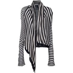ANN DEMEULEMEESTER open contrast stripe cardigan ($580) ❤ liked on Polyvore featuring tops, cardigans, outerwear, sweaters, jackets, black long sleeve cardigan, asymmetrical top, asymmetrical cardigan, vertical stripe top and black long sleeve top