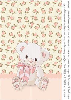 Ursinha Floral Rosa - Kit Completo com molduras para convites, rótulos para guloseimas, lembrancinhas e imagens!