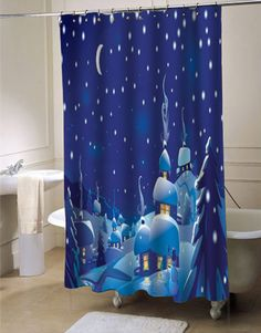 WinterChristmas Scene custom shower curtain for bathroom ideas