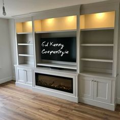 Bespoke TV unit with Intergrated electric fire Built In Tv Wall Unit, Wall Units With Fireplace, Built In Tv Cabinet, Built In Shelves Living Room, Built In Electric Fireplace, Fireplace Built Ins, Home Fireplace, Living Room With Fireplace, Tv Wall Units
