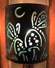 Dragonfly Garden - night light - Recycled tin can freehand torch cut metalwork from New Mexico