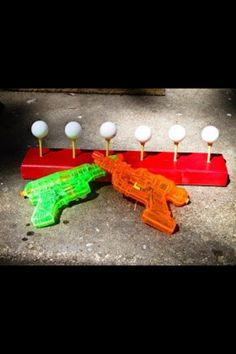 Water guns and ping pong balls for shooting practice. Why haven't I thought of this?